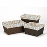 Set of 3 One Size Fits Most Basket Liners for Blue and Taupe Hayden Bedding Sets
