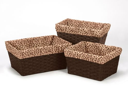 Set of 3 One Size Fits Most Basket Liners for Cheetah Girl Bedding Sets by Sweet Jojo Designs - Click to enlarge