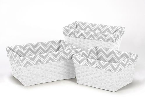 Set of 3 One Size Fits Most Basket Liners for Chevron Zig Zag Bedding Sets by Sweet Jojo Designs - Click to enlarge