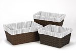 Set of 3 One Size Fits Most Basket Liners for Coral, Mint and Grey Woodsy Bedding Sets by Sweet Jojo Designs