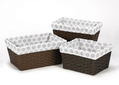 Set of 3 One Size Fits Most Basket Liners for Feather Collection Bedding Sets by Sweet Jojo Designs - Grey Tribal Geometric Print