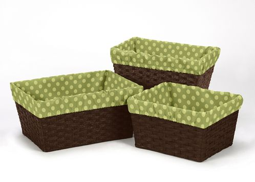 Set of 3 One Size Fits Most Basket Liners for Forest Friends Bedding Sets by Sweet Jojo Designs - Polka Dot - Click to enlarge