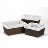 Set of 3 One Size Fits Most Basket Liners for Grey, Black and White Marble Bedding Sets by Sweet Jojo Designs