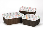 Set of 3 One Size Fits Most Basket Liners for Grey, Coral and Mint Woodland Arrow Bedding Sets by Sweet Jojo Designs