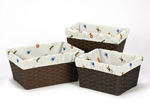 Set of 3 One Size Fits Most Basket Liners for Jungle Time Bedding Sets
