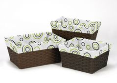 Set of 3 One Size Fits Most Basket Liners for Lime and Black Spirodot Bedding Sets
