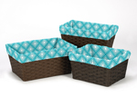 Set of 3 One Size Fits Most Basket Liners for Mod Elephant Bedding Sets by Sweet Jojo Designs