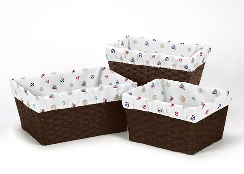 Set of 3 One Size Fits Most Basket Liners for Nautical Nights Bedding Sets by Sweet Jojo Designs - Sail Boat Print - Click to enlarge