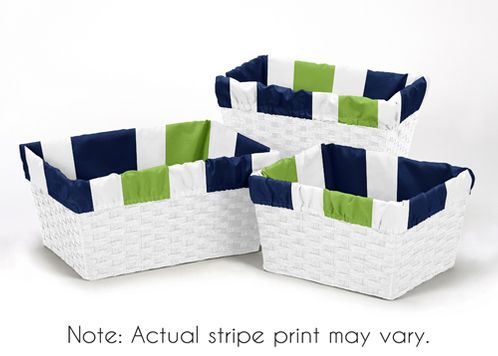 Set of 3 One Size Fits Most Basket Liners for Navy and Lime Stripe Bedding Sets - Click to enlarge