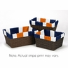 Set of 3 One Size Fits Most Basket Liners for Navy Blue and Orange Stripe Bedding Sets