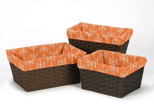 Set of 3 One Size Fits Most Basket Liners for Orange and Navy Arrow Bedding Sets - Click to enlarge