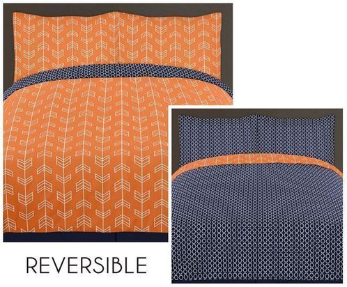 Orange and Navy Arrow 3pc Full / Queen Bedding Set by Sweet Jojo Designs - Click to enlarge