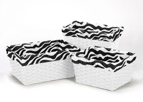 Set of 3 One Size Fits Most Basket Liners for Pink and Black Funky Zebra Bedding Sets by Sweet Jojo Designs - Click to enlarge