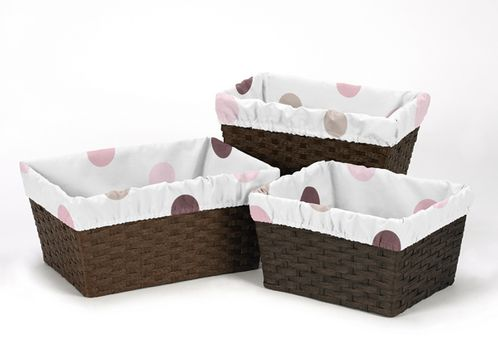 Set of 3 One Size Fits Most Basket Liners for Pink and Chocolate Mod Dots Bedding Sets - Click to enlarge