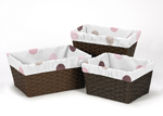 Set of 3 One Size Fits Most Basket Liners for Pink and Chocolate Mod Dots Bedding Sets