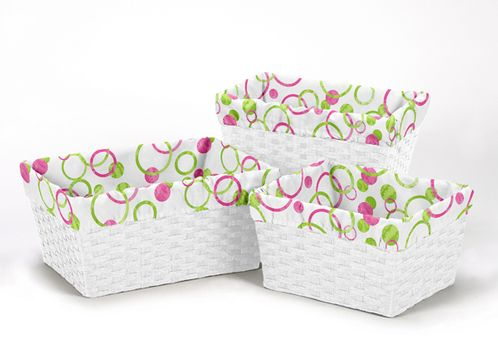 Set of 3 One Size Fits Most Basket Liners for Pink and Green Mod Circles Bedding Sets - Click to enlarge