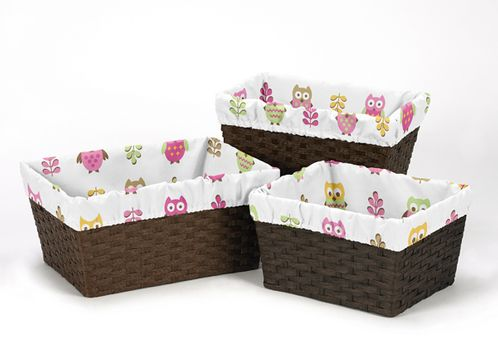 Set of 3 One Size Fits Most Basket Liners for Pink Happy Owl Bedding Sets - Click to enlarge