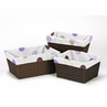 Set of 3 One Size Fits Most Basket Liners for Purple and Chocolate Mod Dots Bedding Sets