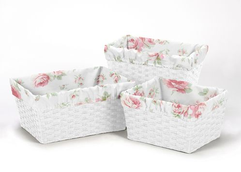 Set of 3 One Size Fits Most Basket Liners for Riley's Roses Bedding Sets - Click to enlarge