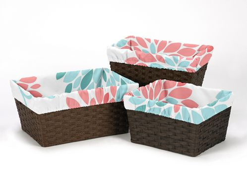 Set of 3 One Size Fits Most Basket Liners for Turquoise and Coral Emma Bedding Sets - Click to enlarge