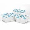 Set of 3 One Size Fits Most Basket Liners for Turquoise and White Chevron Bedding Sets