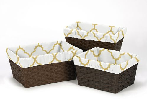 Set of 3 One Size Fits Most Gold and White Trellis Print Basket Liners for Ava Bedding Sets by Sweet Jojo Designs - Click to enlarge