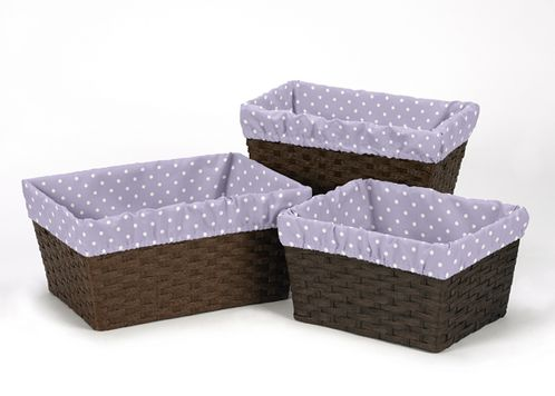 Set of 3 One Size Fits Most Lavender and White Polka Dot Basket Liners for Sloane Bedding Sets - Click to enlarge