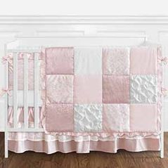 Shabby Chic Mauve, Blush Pink and White Vintage Lace Baby Girl Crib Bedding Set with Bumper by Sweet Jojo Designs - 9 pieces