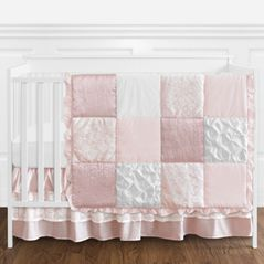 Shabby Chic Mauve, Blush Pink and White Vintage Lace Baby Girl Crib Bedding Set without Bumper by Sweet Jojo Designs - 4 pieces