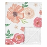 Shabby Chic Pink Rose Flower Watercolor Floral Baby Girl Receiving Security Swaddle Blanket for Newborn or Toddler Nursery Car Seat Stroller Soft Minky by Sweet Jojo Designs - Peach and Green