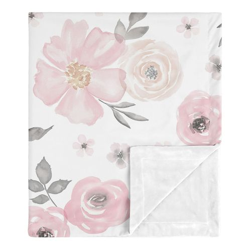 Shabby Chic Rose Flower Watercolor Floral Baby Girl Receiving Security Swaddle Blanket for Newborn or Toddler Nursery Car Seat Stroller Soft Minky by Sweet Jojo Designs - Blush Pink, Grey and White - Click to enlarge