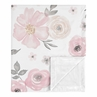 Shabby Chic Rose Flower Watercolor Floral Baby Girl Receiving Security Swaddle Blanket for Newborn or Toddler Nursery Car Seat Stroller Soft Minky by Sweet Jojo Designs - Blush Pink, Grey and White