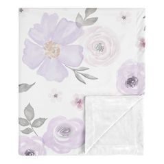 Shabby Chic Rose Flower Watercolor Floral Baby Girl Receiving Security Swaddle Blanket for Newborn or Toddler Nursery Car Seat Stroller Soft Minky by Sweet Jojo Designs - Lavender Purple, Pink and Grey