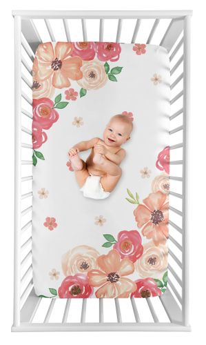 Shabby Chic Floral Girl Fitted Crib Sheet Baby or Toddler Bed Nursery Photo Op by Sweet Jojo Designs - Peach, Pink and Green Watercolor Rose Flower - Click to enlarge