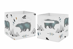 Slate Blue and White Bear Mountain Watercolor Organizer Storage Bins for Collection by Sweet Jojo Designs - Set of 2