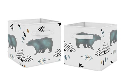 Slate Blue and White Bear Mountain Watercolor Organizer Storage Bins for Collection by Sweet Jojo Designs - Set of 2 - Click to enlarge