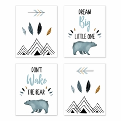 Slate Blue and White Wall Art Prints Room Decor for Baby, Nursery, and Kids for Bear Mountain Watercolor Collection by Sweet Jojo Designs - Set of 4 - Dream Big, Don't Wake the Bear