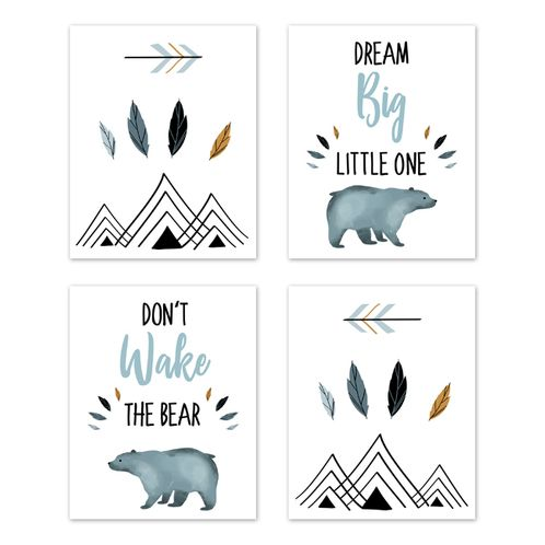 Slate Blue and White Wall Art Prints Room Decor for Baby, Nursery, and Kids for Bear Mountain Watercolor Collection by Sweet Jojo Designs - Set of 4 - Dream Big, Don't Wake the Bear - Click to enlarge