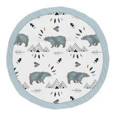 Slate Blue Playmat Tummy Time Baby and Infant Play Mat for Bear Mountain Watercolor Collection by Sweet Jojo Designs
