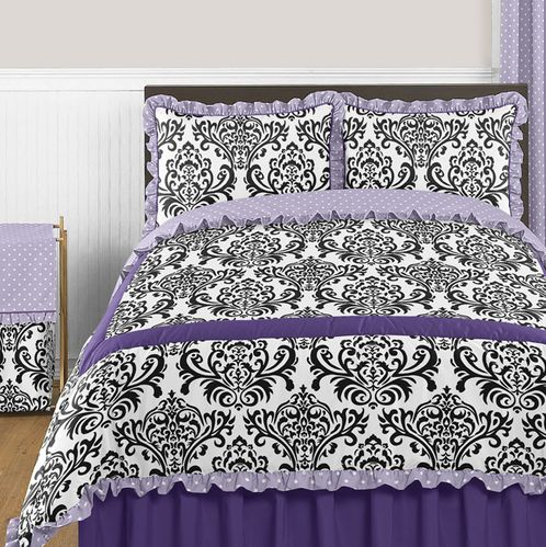 Lavender, Purple, Black and White Sloane 3pc Full / Queen Girls Bedding Set by Sweet Jojo Designs - Click to enlarge