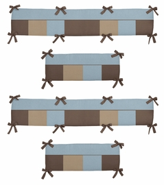 Soho Blue and Brown Collection Crib Bumper by Sweet Jojo Designs