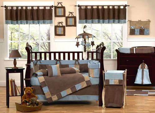 Soho Blue and Brown Crib Bedding - 9 pc Set - Click to enlarge