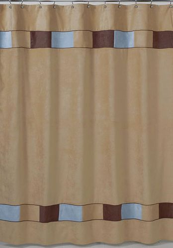 Soho Blue and Brown Kids Bathroom Fabric Bath Shower Curtain - Click to enlarge