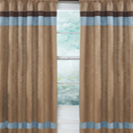 Soho Blue and Brown Window Treatment Panels - Set of 2