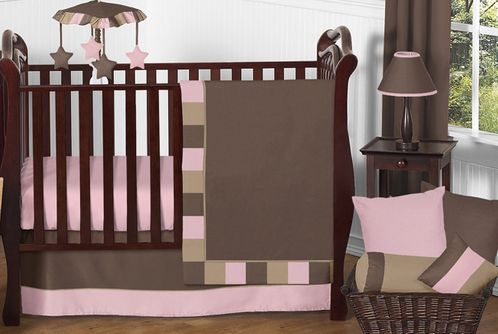 Soho Pink and Brown Baby Bedding - 11pc Crib Set - Click to enlarge