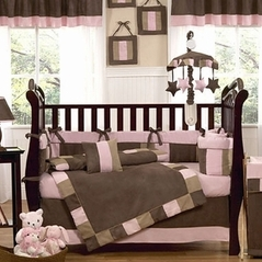 Soho Pink and Brown Baby Bedding - 9 pc Crib Set