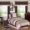 Soho Pink and Brown Children's Bedding - 4 pc Twin Set