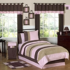 Soho Pink and Brown Childrens Bedding -  3 pc Full / Queen Set