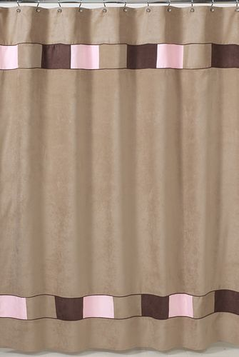 Soho Pink and Brown Kids Bathroom Fabric Bath Shower Curtain - Click to enlarge