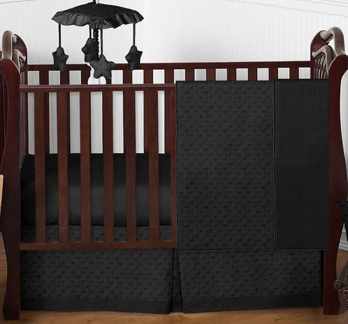 Solid Black Minky Dot Baby Bedding - 4pc Crib Set by Sweet Jojo Designs - Click to enlarge